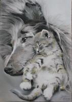 Chien et chat pastel 1
