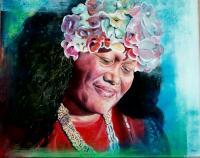 Femme du monde tahitienne huile