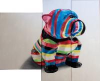 Statue chien huile